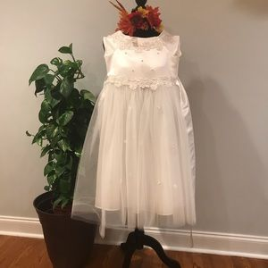 White Satin and Tulle Big Girls Dress